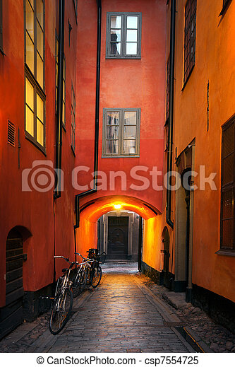 Narrow alley in Stockholm - csp7554725
