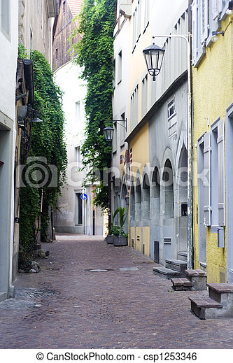narrow alley with old bui - csp1253346
