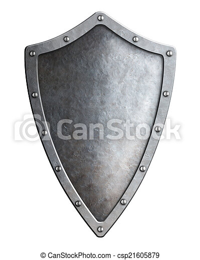 narrow medieval metal shield isolated on white - csp21605879