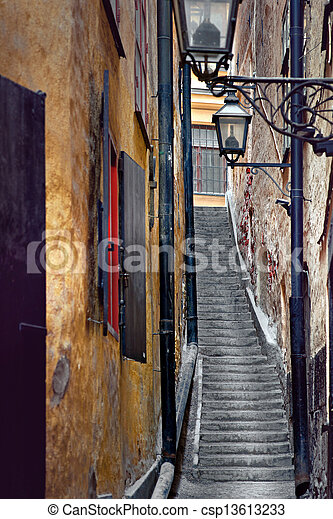 Narrow staircase in Stockholm - csp13613233