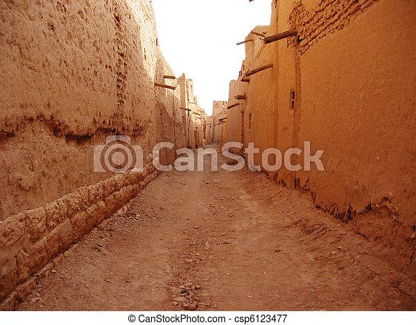 Narrow street in Diriyah, Saudi Arabia - csp6123477