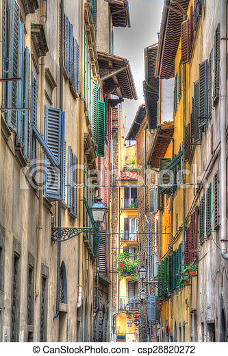 narrow street in Florence in hdr - csp28820272