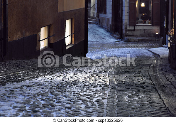 Narrow street in Stockholm - csp13225626