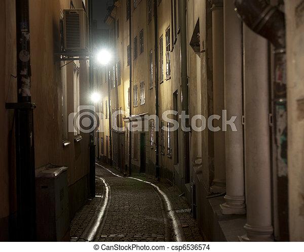 Narrow street in Stockholm - csp6536574