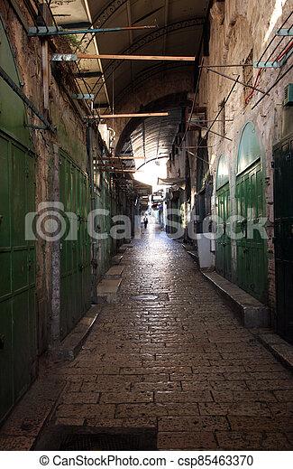 Narrow street in the Old City of Jerusalem, Israel - csp85463370