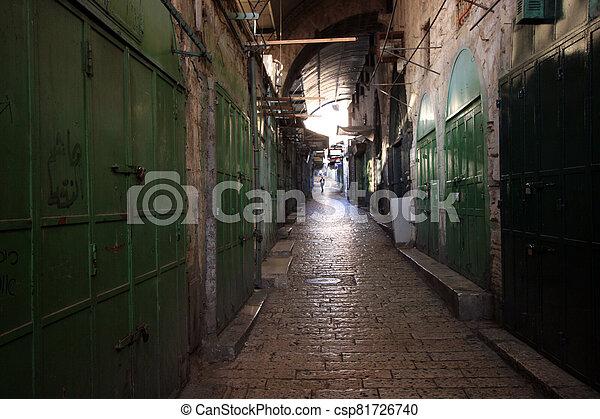 Narrow street in the Old City of Jerusalem, Israel - csp81726740