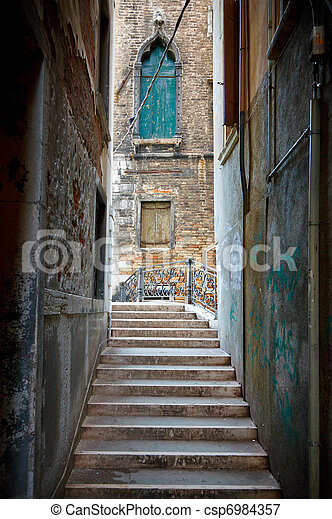 Narrow street in Venice - csp6984357