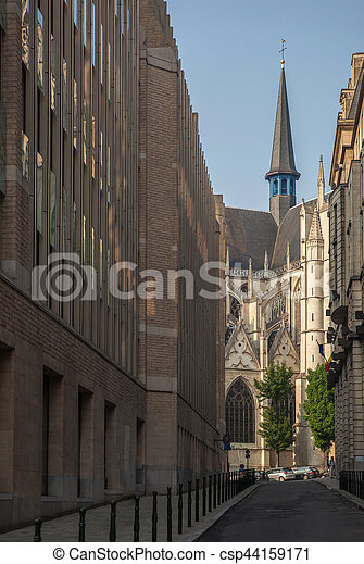narrow street to the cathedral in Brussels - csp44159171