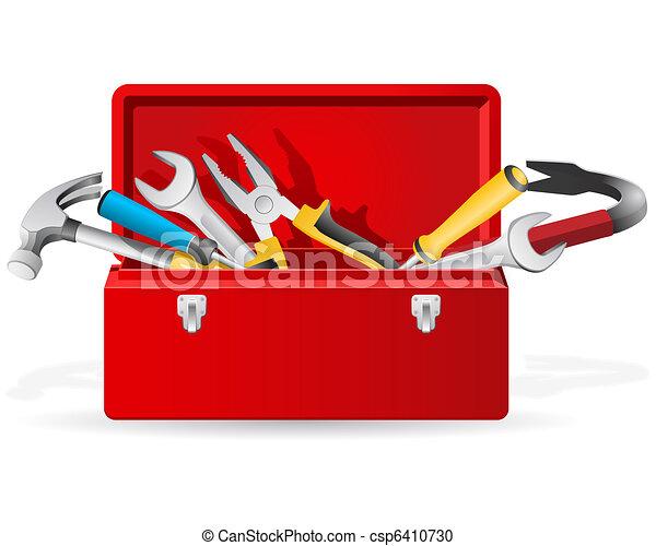 narzędzia, czerwony, skrzynka na narzędzia - csp6410730