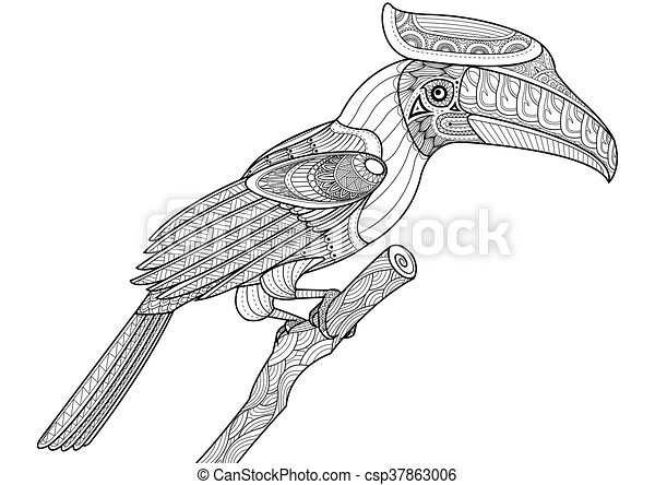Nashornvogel, färbung, baum, buch, design, zentangle, vogel ...