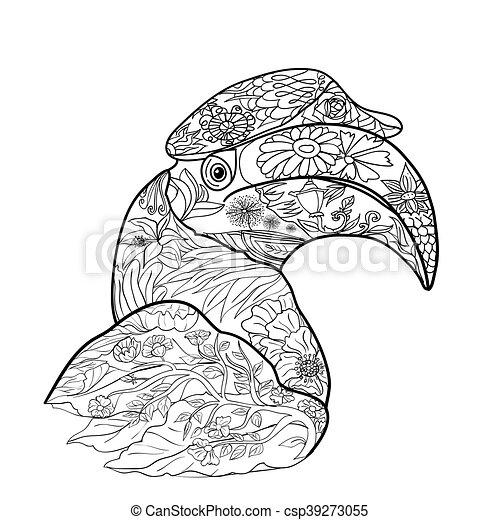 Nashornvogel, groß, färbung, kunst, vogel, hintergrund,... Clipart ...