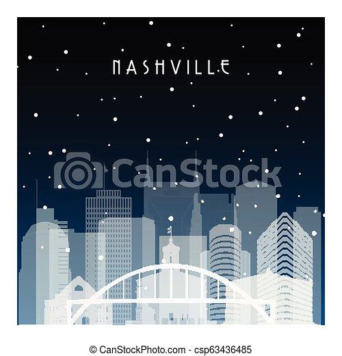 Noche de invierno en Nashville. - csp63436485