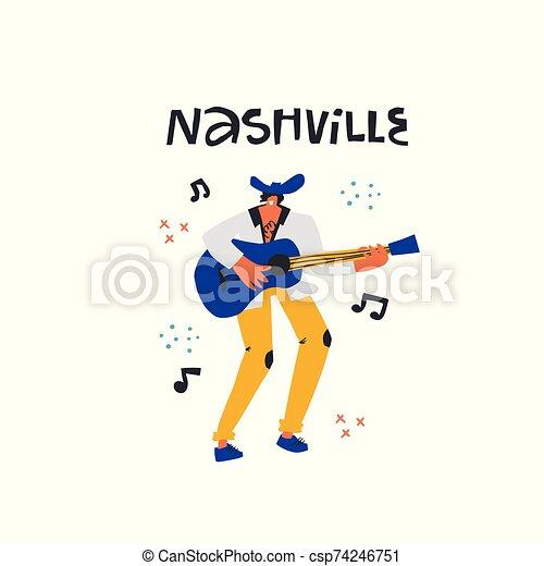 nashville, país, guitarra, cantante - csp74246751