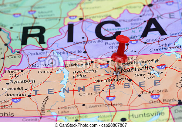 Nashville pinned on a map of usa Photo of pinned nashville