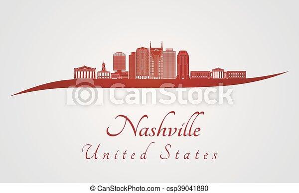 Nashville skyline in red - csp39041890