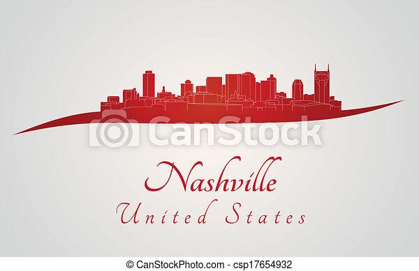 Nashville skyline in red - csp17654932