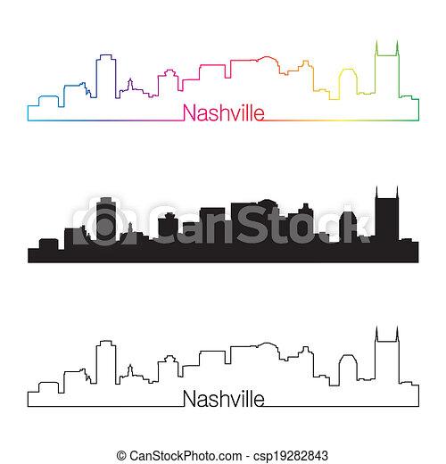 Nashville skyline linear style with rainbow - csp19282843