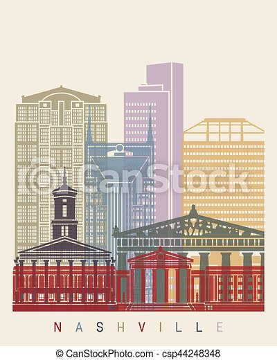 Nashville skyline poster - csp44248348