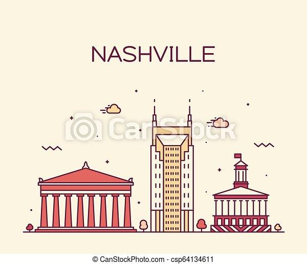Nashville skyline Tennessee USA vector linear city - csp64134611