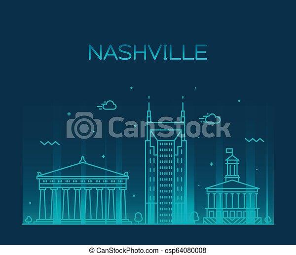 Nashville skyline Tennessee USA vector linear city - csp64080008