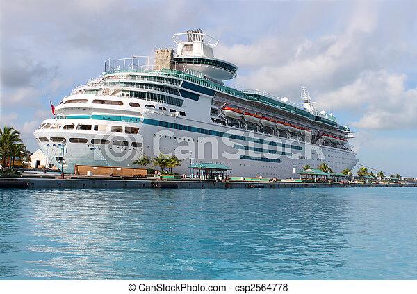 nassau, bateau, port, croisière - csp2564778