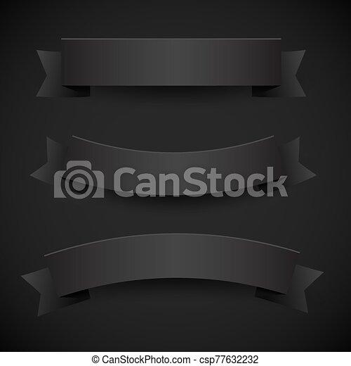 nastri, carta, bandiere, set, o, nero - csp77632232