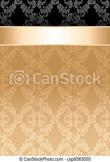 nastro, oro, modello, seamless, fondo, floreale - csp9363055