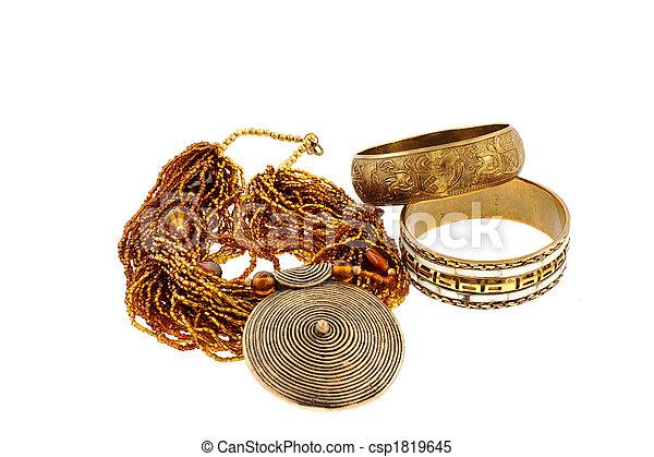 naszyjnik, brąz, dwa, bransoletki - csp1819645