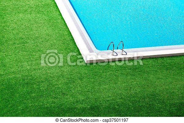natação, capim, ao redor, verde, piscina, bonito - csp37501197