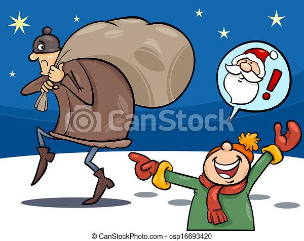 natal, caricatura, ilustração, ladrão - csp16693420