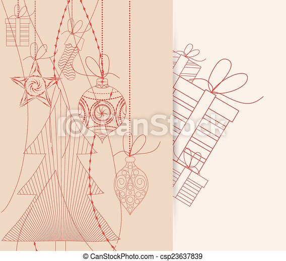 natal, fundo, retro - csp23637839