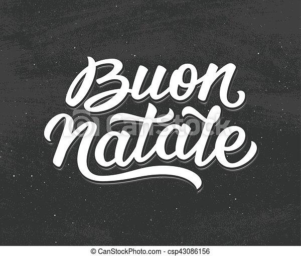 Carta de Buon Natalie. Feliz Navidad en italiano - csp43086156