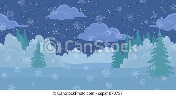 natale, paesaggio, inverno, notte, foresta - csp21870737