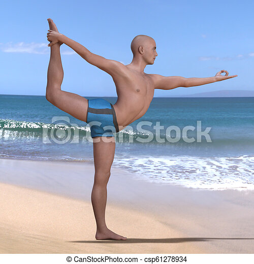 natarajasana pose man on left foot bald man in blue