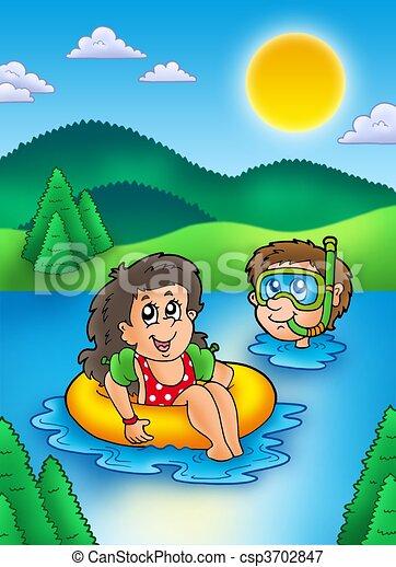 Natation, gosses, lac, deux. Gosses, illustration ...