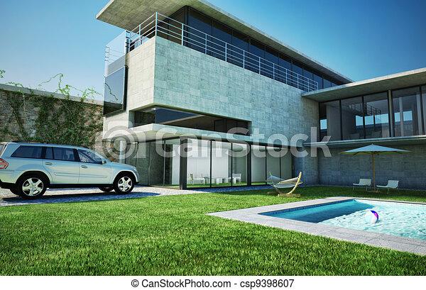Natation luxe moderne villa pool fait villa tr s architecture moderne b ton verre for Villa tres moderne