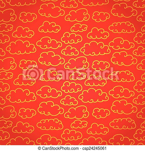 National Chinese Seamless Pattern With Cloud New Year 2015 Bright Beautiful Vector