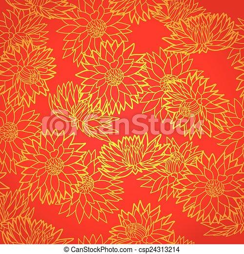 National Chinese Seamless Pattern With Chrysanthemum New Year 2015 Bright Beautiful Vector
