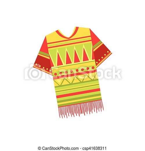 National Costume Mexican Culture Symbol Isolated Bright Vector