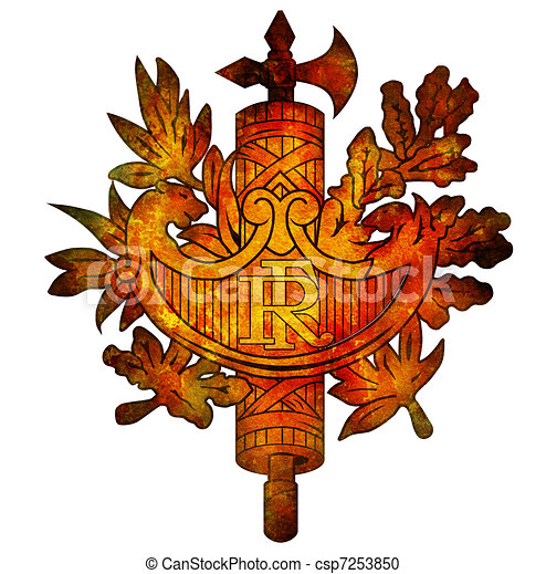 National Emblem Of France Old Isolated Over White Coat Of Arms Of