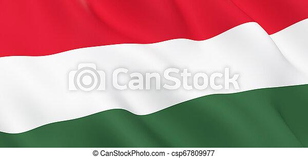 National Fabric Wave Close Up Flag of Hungary - csp67809977