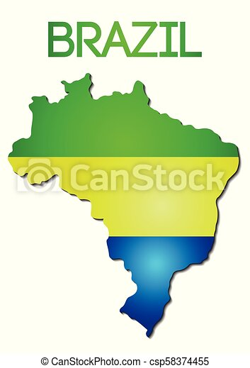 National Flag Color Of Brazil In Map Gradient Design