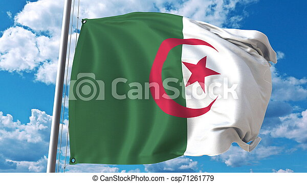 National flag of Algeria on sky background. 3D rendering - csp71261779
