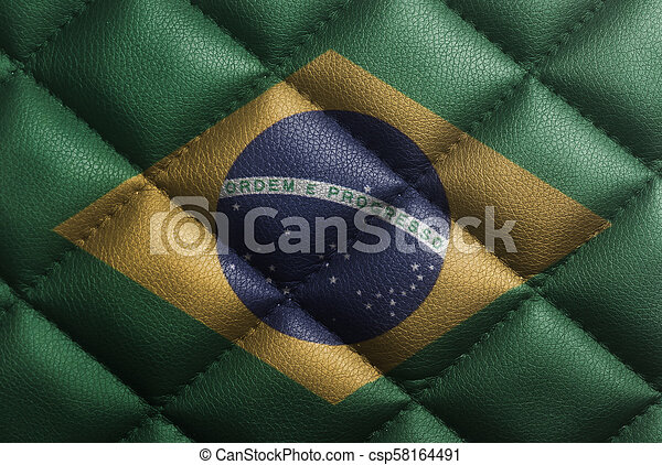 National flag of Brazil on leather texture - csp58164491