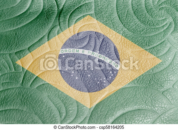 National flag of Brazil on leather texture - csp58164205
