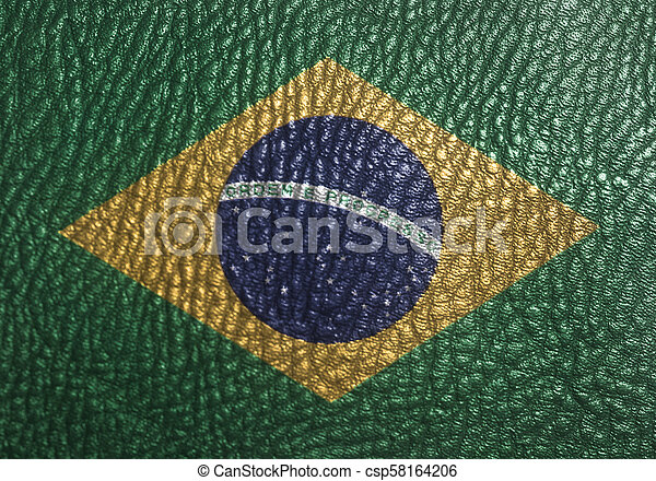National flag of Brazil on leather texture - csp58164206