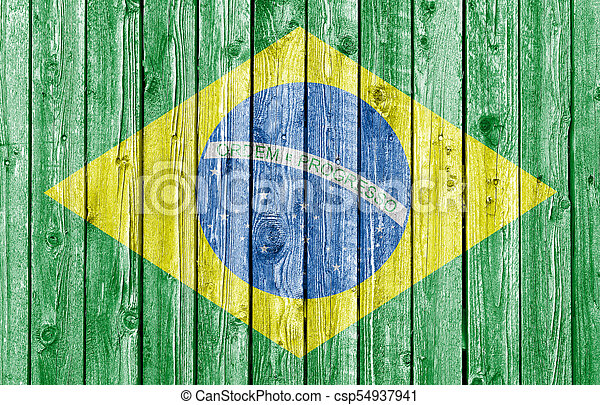 National flag of Brazil on old white wood background - csp54937941
