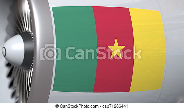 National flag of Cameroon on airliner tourbine engine. Aviation related 3D rendering - csp71286441