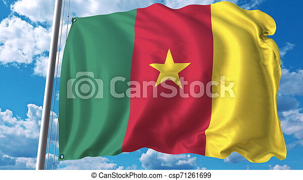 National flag of Cameroon on sky background. 3D rendering - csp71261699