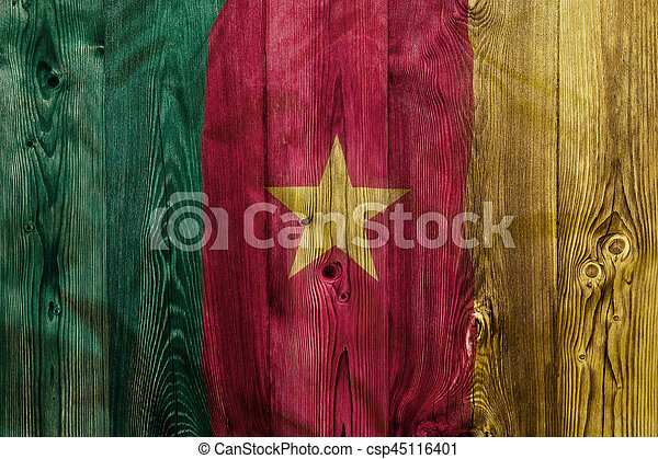 National flag of Cameroon, wooden background - csp45116401